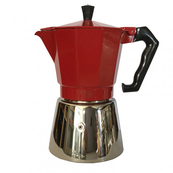 Cafetière italienne Moka rouge 6 tasses induction
