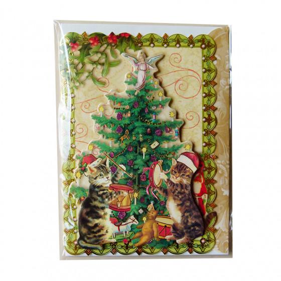 Carte postale Noël 3D Houx