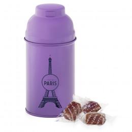 Boîte Tour Eiffel en métal laqué violette garnie de pâtes de fruits à la cerise 110g