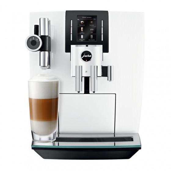 Robot café JURA J6 Pianowhite et 5 paquets de 250g de café en grains et 4 verres double parois Cafés Richard offerts