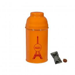 Boîte Tour Eiffel en métal laqué orange garnie de truffes 45g