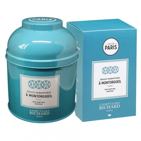 Boîte laquée thé vert menthe bio Douce Parenthèse à Montorgueil et étui sachets mousseline ville de Paris x20