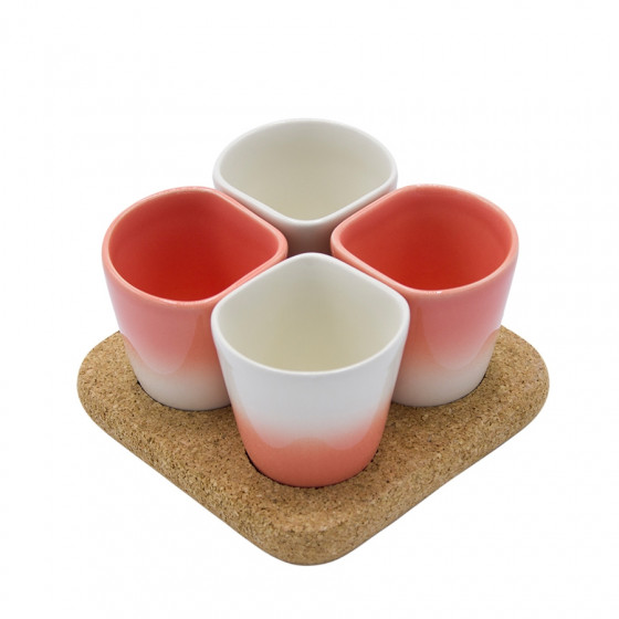 Coffret 4 gobelets à café corail et support en liège