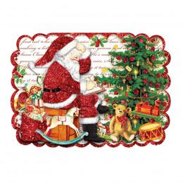 Carte double et son enveloppe Père Noël en relief