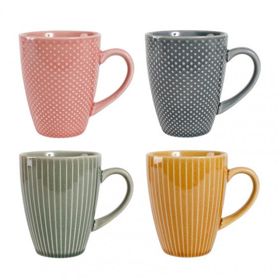 Coffret 4 mugs assortis Crackel 25cl