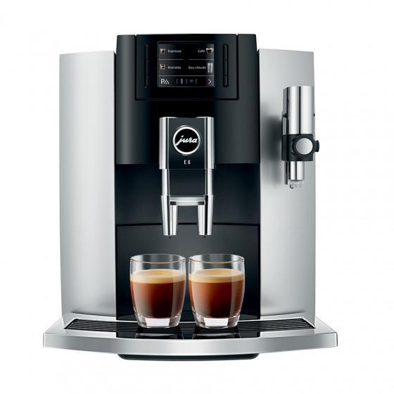 Robot café JURA E8 Platine + 3 paquets de 250g de café en grains et 2 verres expresso Cafés Richard 8cl offerts