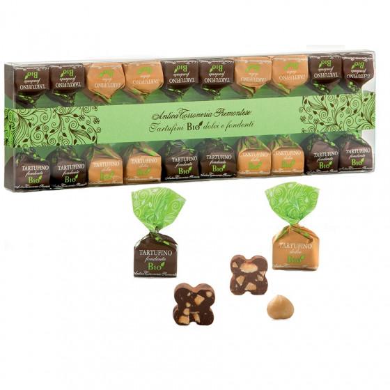 Étui de truffes chocolat au lait et chocolat noir bio 140g