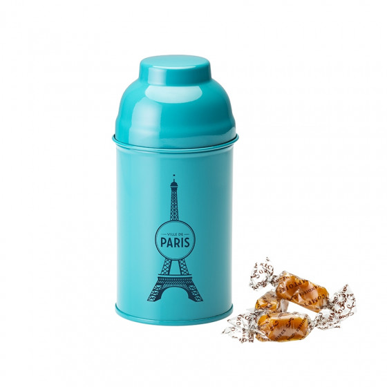 Boîte Tour Eiffel en métal laqué turquoise garnie de caramels 120g