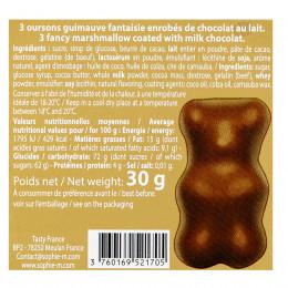 Boîte métal garnie d'oursons guimauve enrobés de chocolat 30g