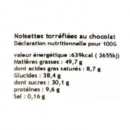 Sachet de noisettes torréfiées au chocolat 100g