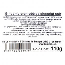 Bonbons gingembre enrobé de chocolat noir bio 110g