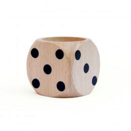 Coquetier en bois forme de dés