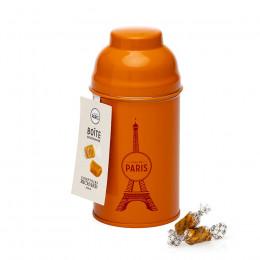 Boîte Tour Eiffel en métal laqué orange garnie de caramels 120g