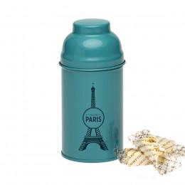 Boîte Tour Eiffel en métal laqué bleue garnie de nougats vanille 95g