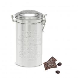 Boîte métal à café garnie d'amandes au chocolat noir 125g