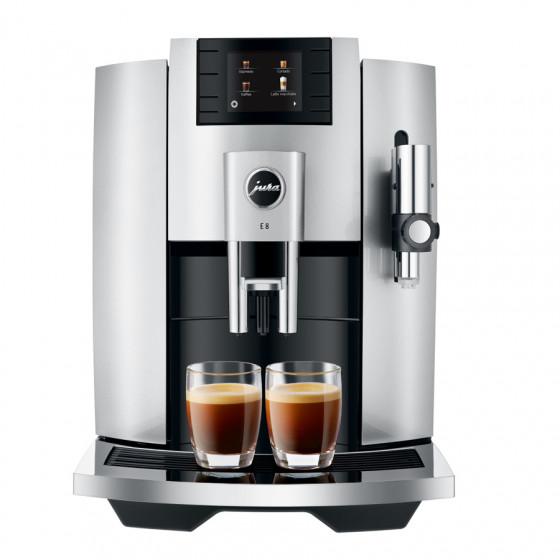 Robot café JURA E8 Moonlight Silver et 3 paquets de 250g de café en grains et 2 verres expresso Cafés Richard 8cl offerts