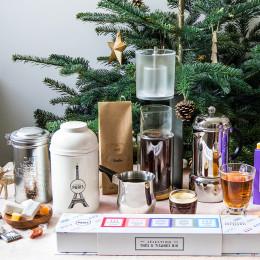Boîte métal à café garnie de nougats tradition 210g
