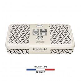 Boîte métal garnie de carrés de chocolat noir 240g