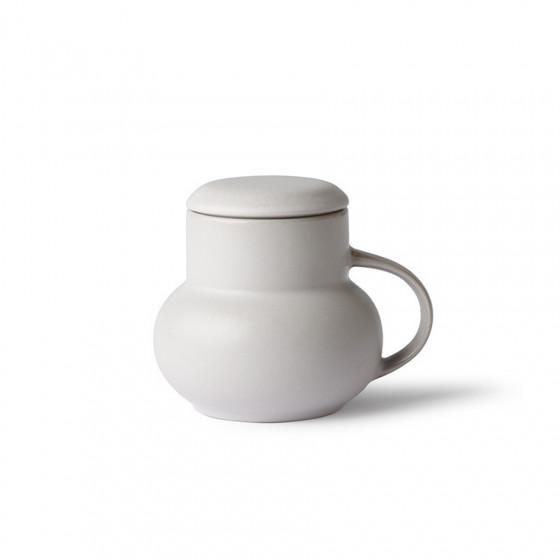 Mug à couvercle en grès gris Bubble 35cl
