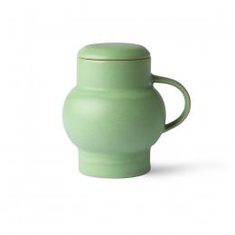 Mug à couvercle en grès vert Bubble 45cl