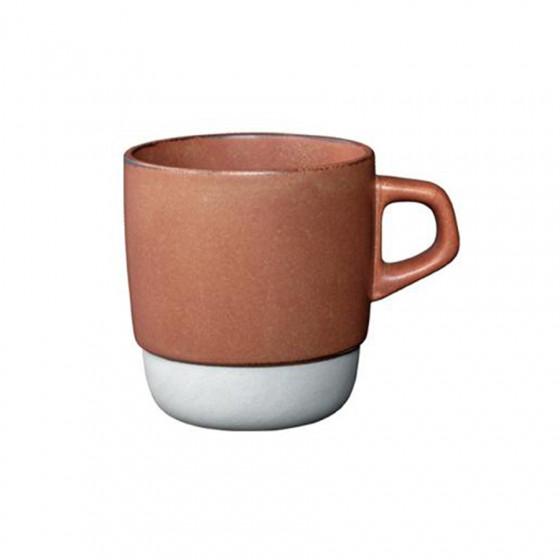 Mug en porcelaine orange empilable 32cl