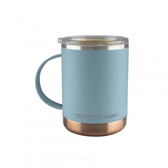Mug Isotherme bleu en acier et  céramique 36cl