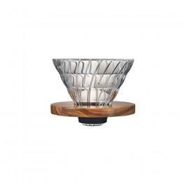 Dripper Hario V60 en verre et olivier 1 à 4 tasses